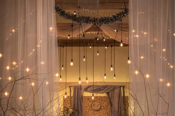festoon hanging lights for a wedding