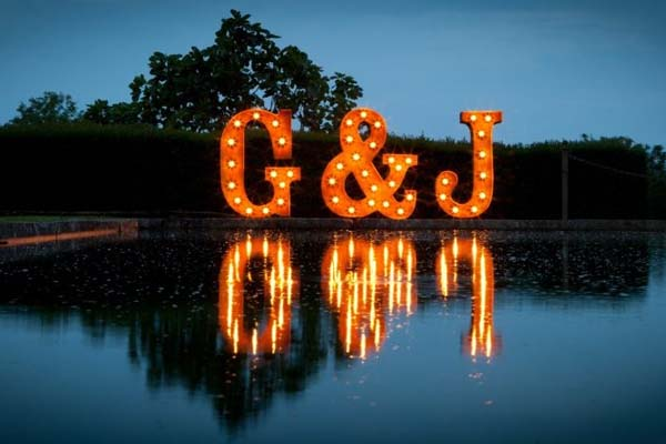 light up letters - wedding initials 2