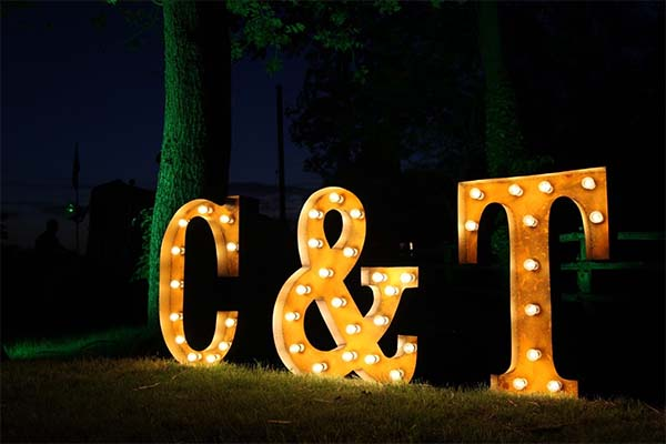 light up letters - wedding initials
