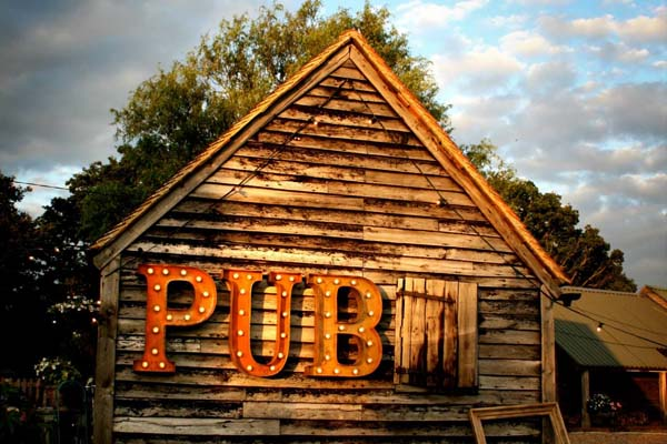 Pub in marquee light up letters