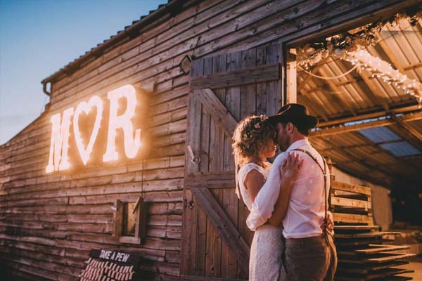 barn wedding - marquee light up letters