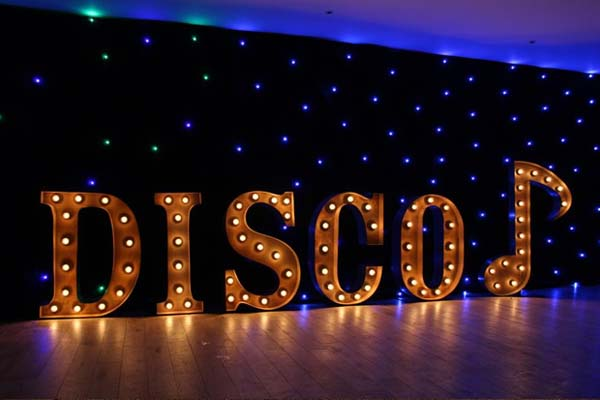 disco - marquee light up word for hire
