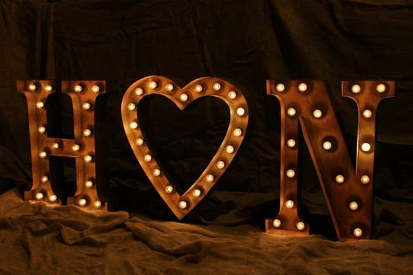 initials with heart - light up marquee letters