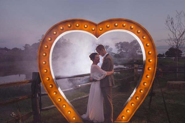 large light up heart for a wedding