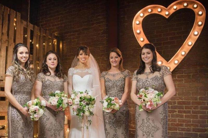 light up heart with bridesmaids