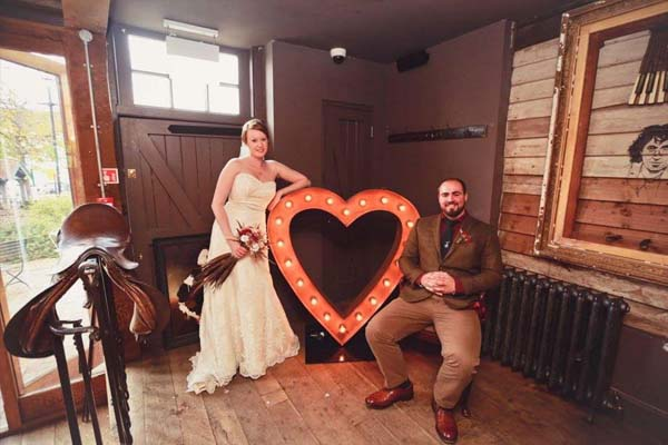 light up heart with wedding couple
