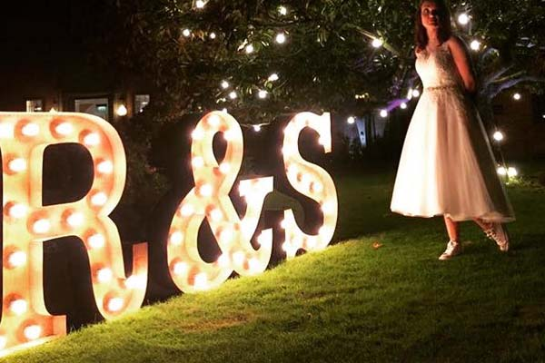 light up letters with bride