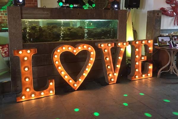 love with heart - light up letters