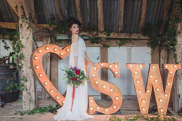 retro bride with light up letters