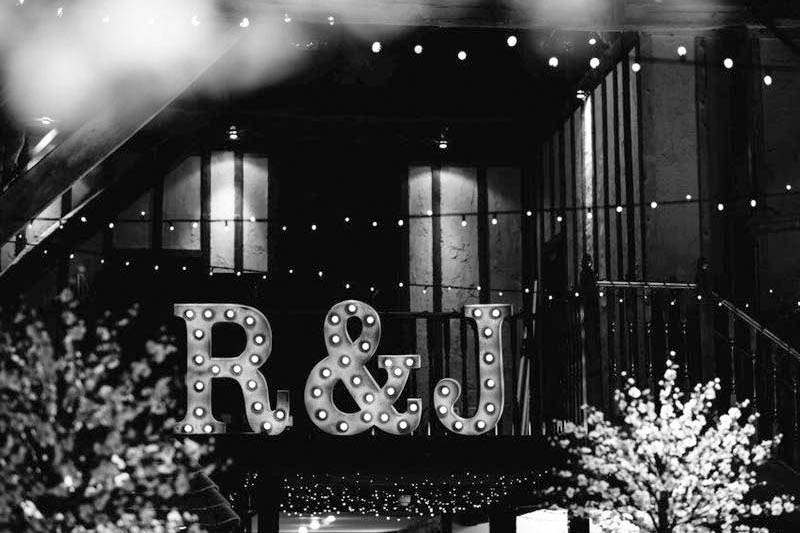 wedding initials - light up letters